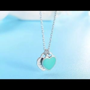If I Get Lost..Tiffany Blue Love Hearts💙 Necklace